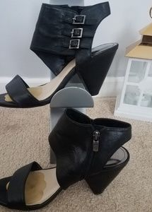 Vince Camuto black leather heels with buckles